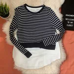 DOUBLE LAYERED STRIPED SWEATER WITH MESH WOMEN M